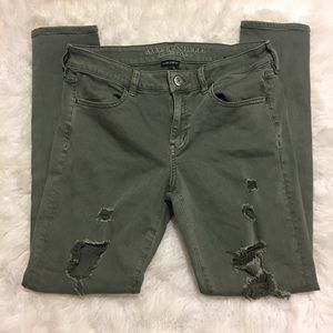 American Eagle Women's Green Distressed Jeggings